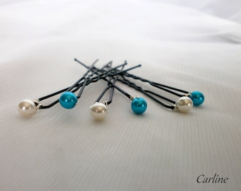6 hair pins white Turquoise bridal hairstyle hair beads 6 mm