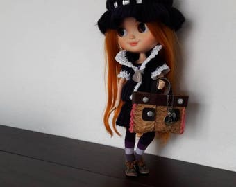 Blythe-Outfit in lana con borsa realizzato a mano Made in italy