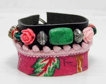 Black pom poms and pink leather Cuff Bracelet