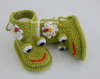 Baby booties , Baby boy, Baby girl, Knitted baby booties, baby booties  frogs