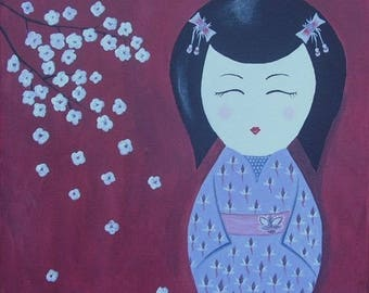 """Painting Japanese style, traditional doll and original """"Cherry blossom Kokeshi"""" 30 x 30 cm"""
