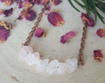Rose Quartz Crystal Necklace/Rose Quartz chips/ Tumbled Rose Quartz/ Love Stone Necklace/ Gifts for Her