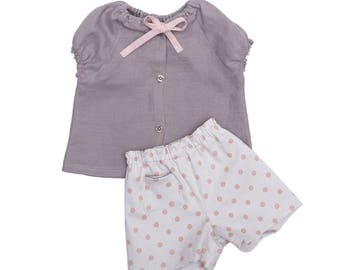 Set baby girl trendy blouse and shorts cotton and linen chic ceremony was