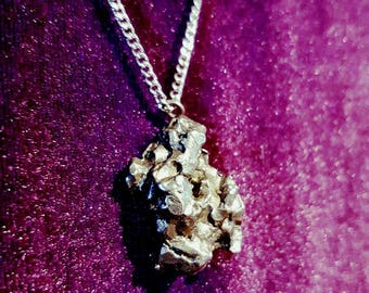 Huge meteorite necklace - sterling silver 925 meteorite meteoriet occult alien extraterrestiel buitenaards UFO