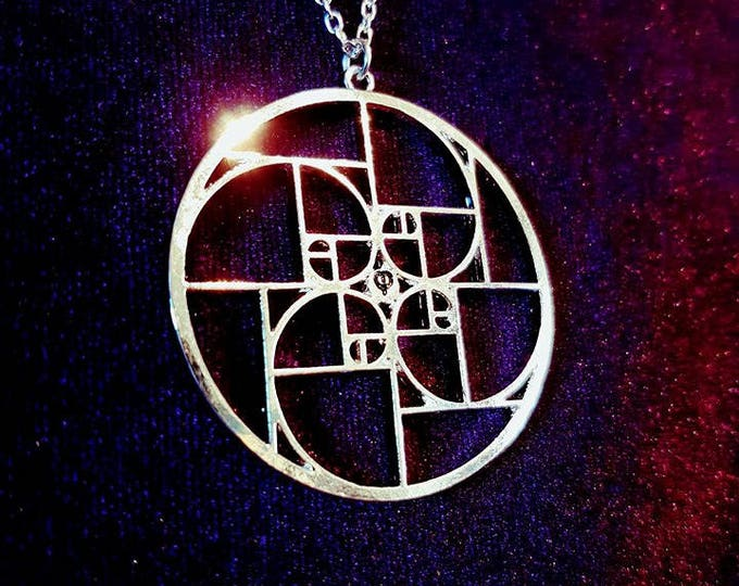Golden Ratio Fibonacci Necklace - sacred geometry spiral pattern occult goth