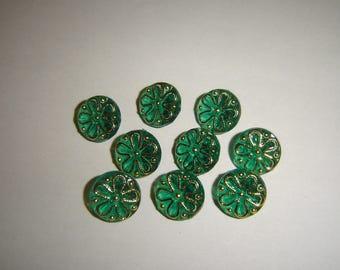 10 buttons emerald green & gold / / 12 mm / / sweater vest