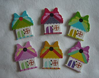6 buttons home Butterfly / / 25 x 30 mm