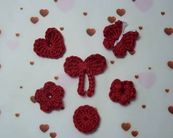 embellishment lot 6 pieces red crochet cotton