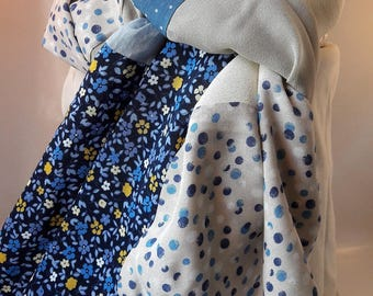 Blue polka dots and flowers patchwork scarf
