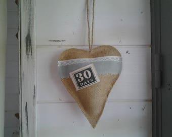pretty heart hanging burlap