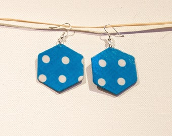 Blue Hexagon earrings with polka dots