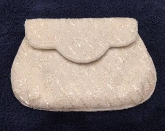 Scalloped Beaded White Clutch with Shoulder Strap