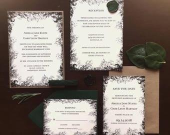 Printable - Woodsy Dark Forest Wedding Invitation Set