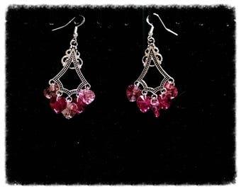 Pair of earrings with Swarovski Crystal hearts