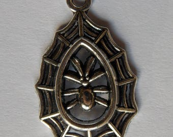 Nice Spider charm & its Web metal silver