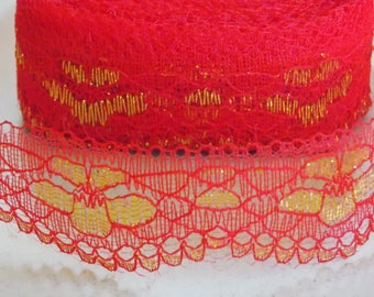1 meter pretty lace with flowers red and Gold Ribbon