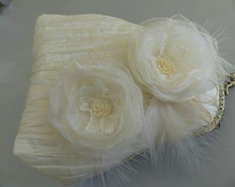 pleated Ecru bridal flower organza pouch