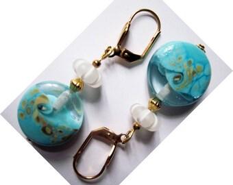 """Ocean scent"" - 2016 gold colored metal earrings-"