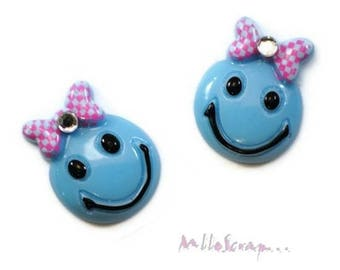 Set of 4 blue resin girly embellishments scrapbooking.* smiley