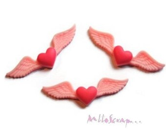 Set of 3 hearts with wings resin embellishment scrapbooking *.