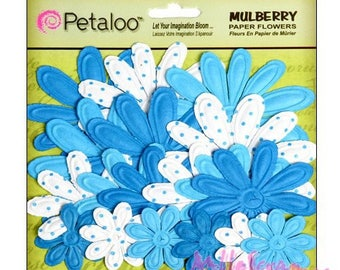 Lot de 18 fleurs papier bleu Petaloo embellissement scrapbooking*