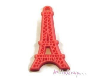 1 X Eiffel Tower pink resin embellishment scrapbooking card making *.