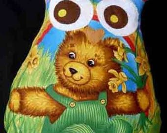 Large pillow approx 39x43cm shape OWL-OWL spring daffodils and teddy bear