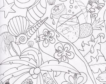 lets go to the beach colouring page