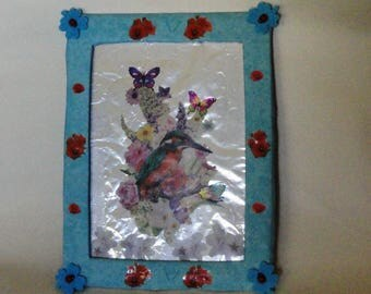 Decorative wall Kingfisher, butterflies and flowers