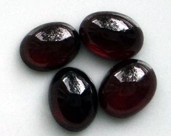 Red garnet, set of 4 small cabochons, 8x6mm