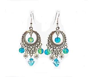 Earrings light blue prints