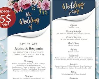 Wedding Program Printable, Wedding Program Template  Editable Wedding Program  Rustic Wedding Ceremony Program, Instant Download