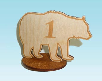 Table Numbers - Wooden Bear with Base
