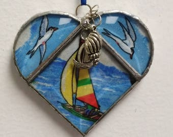 Stained Glass Heart Sailboats and Seagulls ~ Two Sided ~ 3.5  Inches with Sailboat and Shell Charms