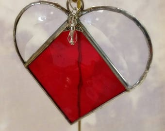 Stained Glass, JULY Birthstone, Birthstone Heart, Ruby, Clear Red, Stained Glass Suncatcher, Handmade in USA, Gift for Her