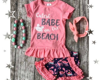 Girls Beach Babe short set outfit