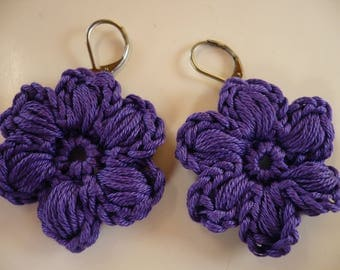 Earrings in purple cotton crochet flower