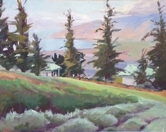 Maui memories// Original oil painting// Maui upcountry art//Lavender Farm// landscape painting// impressionism