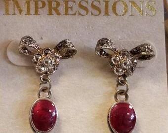 red or orange stone dangle earrings