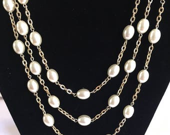 Emmons Faux Peal and Gold Tone Necklace 56""