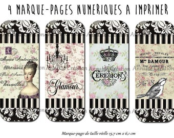 "4 bookmarks ""Baroque"" printable digital images"