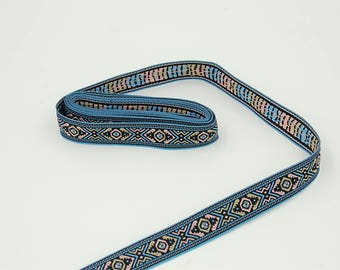 50 cm of Ribbon woven Aztec blue 18 mm