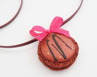 Copper polymer clay necklace - raspberry macaroon