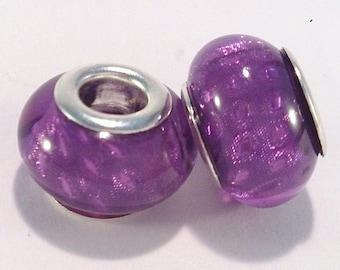 European bead charm's Purple acrylic glitter (14F)