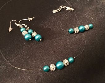Adornment Jewelry Turquoise pearls / Rhinestones, necklace, bracelet, earrings, nylon thread, silver plated.