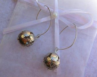 """Snow ball"" earrings"