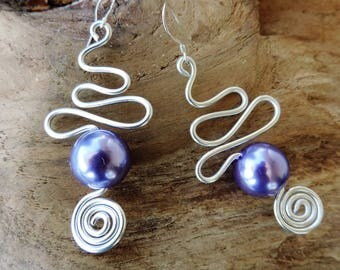 Earrings Silver Aluminum spirals and Parma violet beads, silver bail. hand made, unique piece.