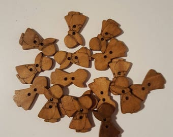 set of 10 wooden buttons draw girl band