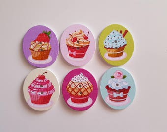 Set of 5 ice cream cut oval wooden buttons