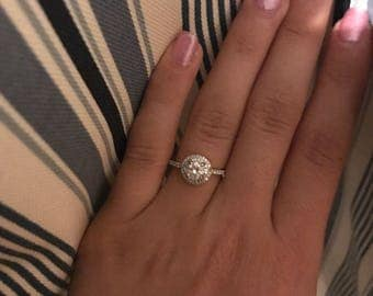 1 Ct Round Double Halo Engagement Ring